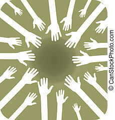 team of hands - illustration of team of hands grouped for...
