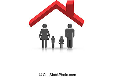 Roof and family - illustration of 3d characters of family...