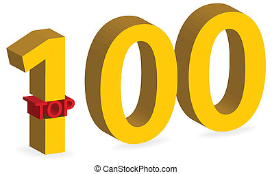3d gold top 100 symbol isolated
