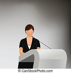 a woman doing a presentation at a business conference or...