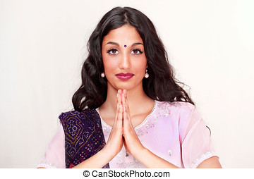 Indian girl namaste greeting - Beautiful indian girl doing...