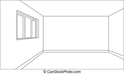 Virtual model room sketch with only outer lines of the...