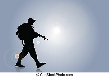 Silhouette of an army soldier walking on hills against blue...