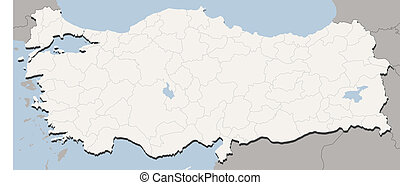 Map Of Turkey - Detailed Vector illustration of map of...