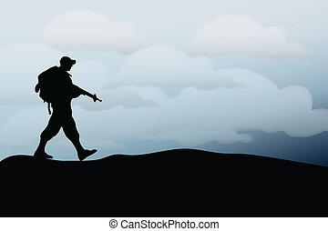silhouette, armée, soldat, marche