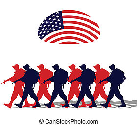 Silhouette of an army soldiers walking under a usa flag