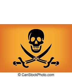 Pirate Flag - illustraion of pirate flag with black skull...