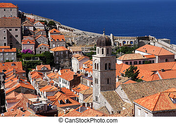 Dubrovnik old town, high angle view
