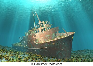 wreck - Boat wreck illustration image