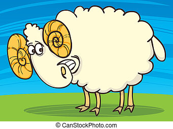 happy ram - cartoon illustration of funny happy ram