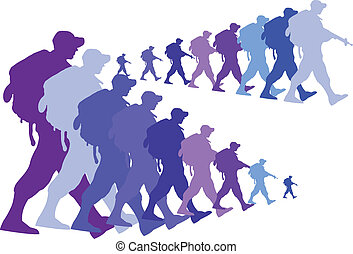 colored silhouette of an army soldiers walking in a group...
