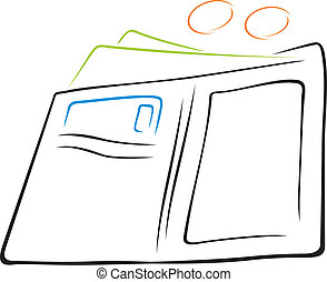 Wallet with cash - Illustration of wallet with cash and...