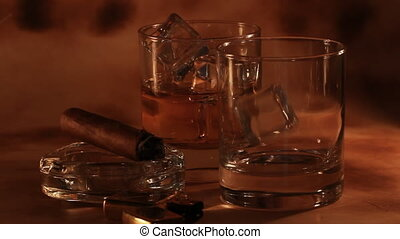 Glasses with cold whiskey - Close up of glasses with cold...
