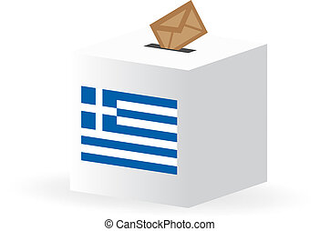 vote poll ballot box for greece, greek elections - vector...