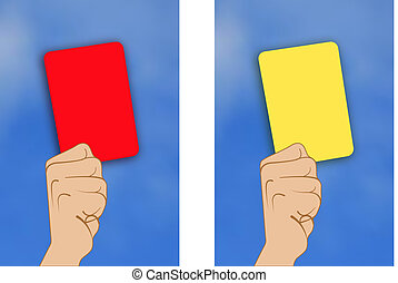 yellow card red card - Illustration of yellow card red card...
