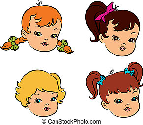 Vintage cartoon little girls.