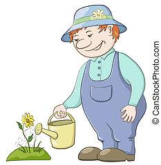 Gardener waters a flower