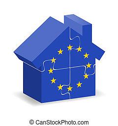EU flagged house - Illustration of EU flagged house with...