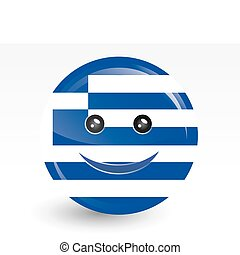 flag of greece in smiling face shape