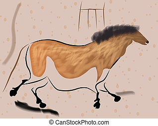 Lascaux Horse - illustration of prehistoric paintings...