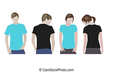 Black, Orange T-shirt design templates (front & back) on...