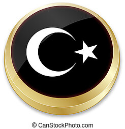flag of turkey in button shape