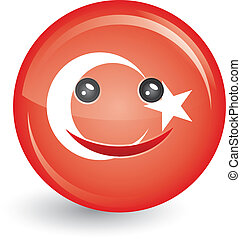flag of turkey in smiling face shape