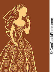 beautiful bride in dress. - Vintage silhouette of beautiful...