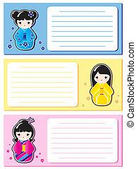 Cute Kokeshi notes
