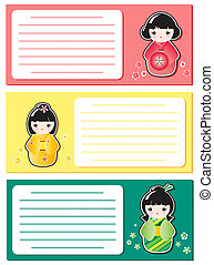 Cute Kokeshi notes - Cute Kokeshi stickers on notes or...