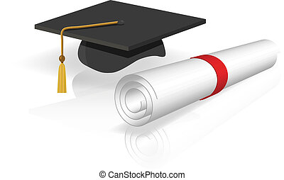 Graduation - vector illustration of a cap and diploma...