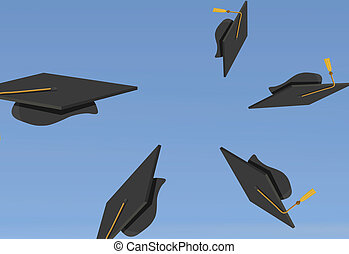 Graduation Caps Thrown in the Air - illustration of...