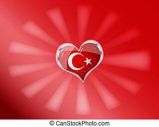 flag of turkey in heart shape