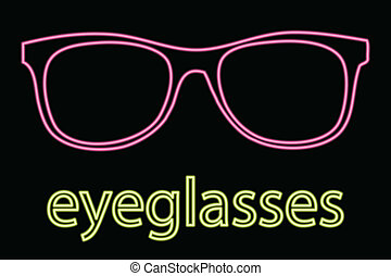 Neon Eyeglass Symbol - vector illustration of Neon Eyeglass...