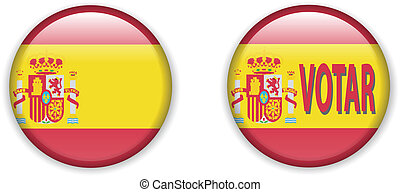 flag of Spain in badge shape - vector illustration of flag...