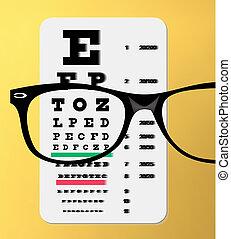 eyeglasses over snellen eye chart - vector illustration of...