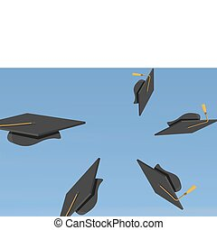 illustration of Graduation Caps Th