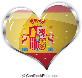 flag of Spain in heart shape - vector illustration of flag...