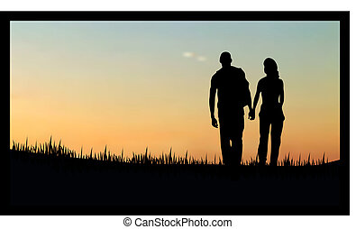 couples as a silhouette against sunsetsunrise - couples as a...