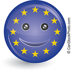 flag of European Union in smiling face - vector illustration...