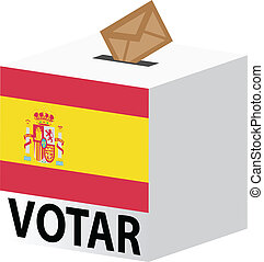vote poll ballot box for spain elections - vector...