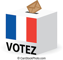 vote poll ballot box for france / french elections - vector...