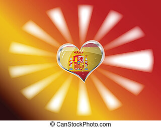 flag of Spain in heart shape over red yellow background