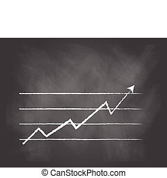 Line graph - vector illustration of a Line graph on black...