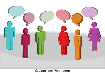 chating people - vector illustration of chating 3d different...