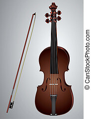Violin and bow - violin and bow on a gray background