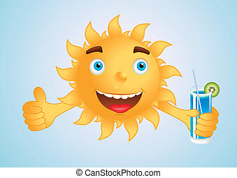 Happy sun - happy sun with a drink