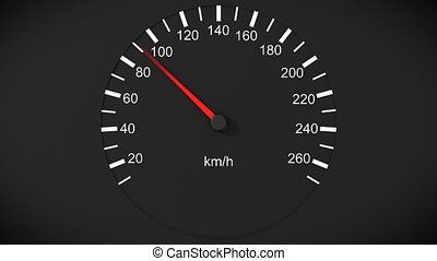 Car speedometer and moving pointer on it. HD.