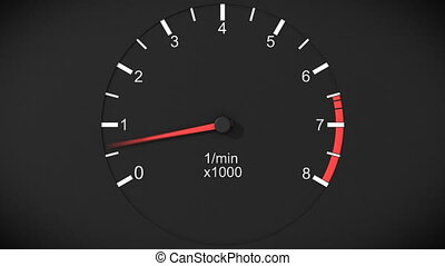 Car tachometer and moving pointer on it. HD.