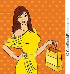 Beautiful fashion shopping girl